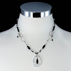 Black & Clear Swarovski Crystals with Sterling Silver Necklace