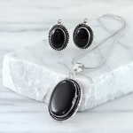 Black Onyx and Silver Necklace with Earrings
