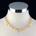 Gold Pearl & Swarovski Gold Crystal Necklace
