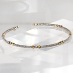 Italian Sterling Silver Bangle with Rose Gold & Clear Swarovski Crystals Cuff