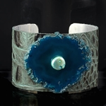 Beautiful Embossed Green Leather Cuff with Teal Blue Agate & Pearl