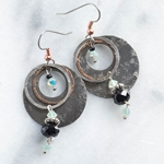 Sedona Hammered Silver & Crystal Earrings