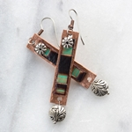 Sedona Copper Rectangle with Leather Inset & Silver Dangle Earrings