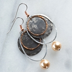 Sedona Silver & Copper with Gold Pearl Earrings