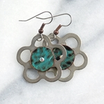 Sedona Silver Flower with Turquoise Leather Earrings