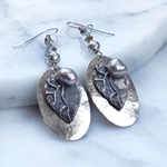 Sedona Silver with Pewter Leaves & Biwa Pearl topped with Swarovski Crystals Earrings