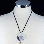 Artisan Orchid Flower & Gold Pearl Necklace with Black Suede Cord