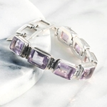 Lavender Amethyst Emerald Cut Gemstones Bracelet Set in Sterling Silver