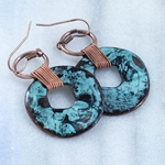 Hammered Turquoise Metal Hoops with Copper Detail Earrings