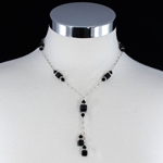 Swarovski Black & Clear Crystals on Sterling Silver Bolero-Style Necklace