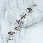 Exclusive bracelets - one of a kind, Amethyst Teardrop & Biwa Pearl Bracelet in Sterling Silver