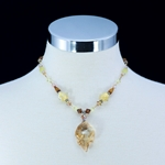 Dazzling Swarovski Crystal Leaf Pendant Necklace