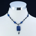 Blue Lapis & Black Onyx Pendant Necklace