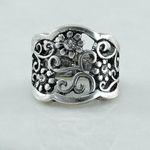 Antiqued Silver Flower Ring