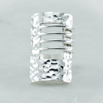 Silver Rectangular Hammered Ring