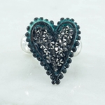 Silver and Hematite Heart Ring